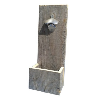 Rustic wall mount bottle opener