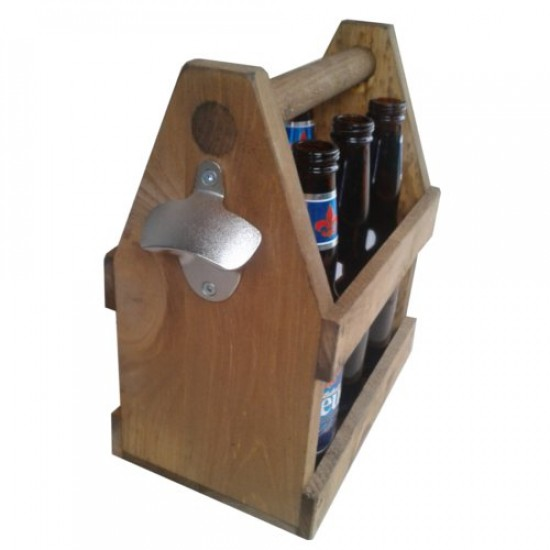 handled wooden beer carrier for 6 bottles