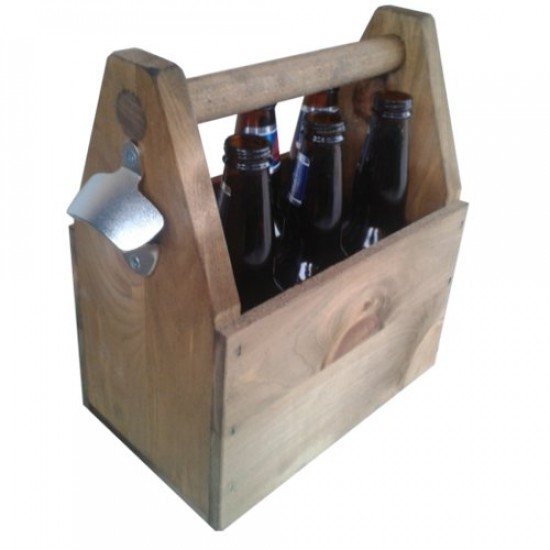 wooden old style beer carrier 6 bottle capacity