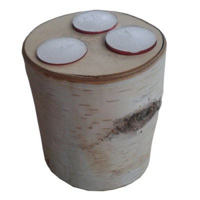 large birch log tea-light cnadle holder