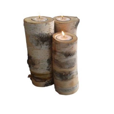 3 Birch logs candle holders