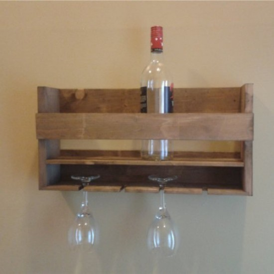 Wall mounted rack for bottles and glass